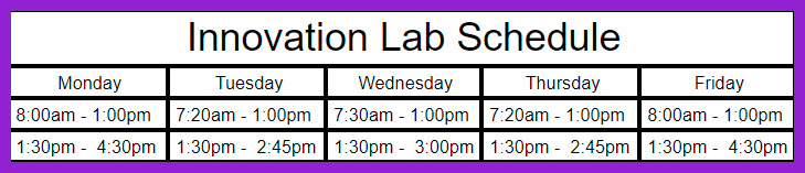 Image of daily lab schedule daily hours vary between 7:30 and 4:30
