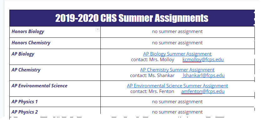 image of the summer assignments page